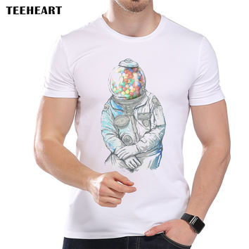 Men's Candy Astronauts Printed Designer T-Shirt Cool Summer Modal Fantasy Graphic Top Tees