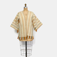 Vintage 60s Boho Cardigan / 1960s Neutral Stripe Woven Wool Fringe Bell Sleeve Sweater Jacket