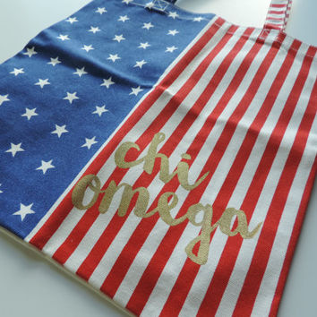 New Chi Omega American Flag Tote Bag // Only a Few Available
