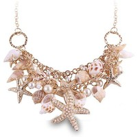 ZLYC Women Summer Hot Chunky Sea Shell Starfish Faux Pearl Statement Necklace, Gold