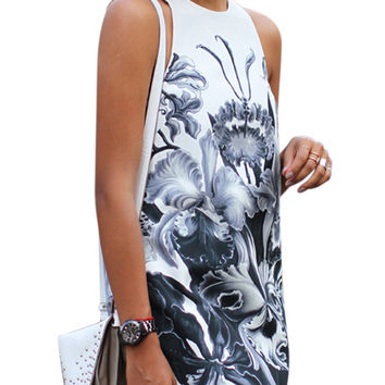 White Floral Print Sleeveless Mini Dress