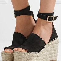Chloé - Lauren suede espadrille wedge sandals