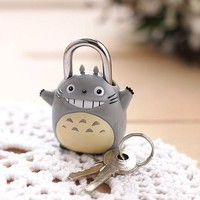 2016 Newest Cute My Neighbor Totoro Padlock Mortise Locks Key Security Lock Padlock Children's Lock Travel Suitcase Luggage Lock