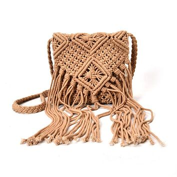 Bohemian Tassel Shoulder Bags Boho fabric Crochet Cotton Fringed Bolsa Femininas Women Handbag Brown Tassel Bohemian Tas canta