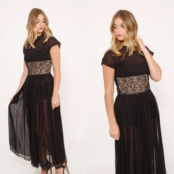 Vintage 50s Black SHEER Maxi Dress LACE Dress Pin Up Dress Pleated COCKTAIL Dress