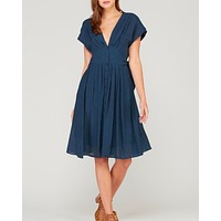in the air - woven v neck button down empire waist dress - navy