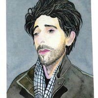 Adrien Brody Looking Pensive Celebrity Watercolor and Ink Portrait Art Print, Famous Actor Adrien Brody Painting Print in Plastic Sleeve