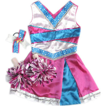 Dream Dazzlers Cheerleader Dress Up Outfit with Accessories - Pink/Blue