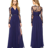 Art Navy Women V Neck Lace Prom Dress = 5841917825