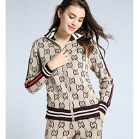 GUCCI Autumn Winter Trending Women Stylish Print Knit Long Sleeve Sweater Pants Sweatpants Set Two-Piece Sportswear