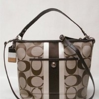 Coach Hamptons Weekend Signature Stripe Shoulder Bag Tote Handbag 10055 Khaki Mahogany