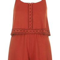 Jersey Overlay Trim Playsuit - Rust