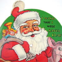 "I Wish That I Were Santa Claus - Vintage 1948 Picture Disk Record ""Card"" by Voco for Kids, Jingle Bells on B Side, Die Cut Shape, Sc-1"