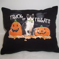 Handmade Ooak HALLOWEEN CAT And PUMPKIN Pillow, Upcyled Pillow, Cottage Chic, Decoration