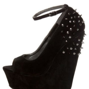 Shoe Republic LA Deare Black Spiked and Studded Platform Wedges