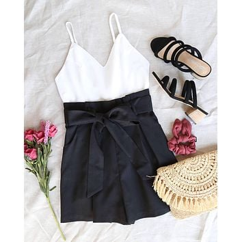 back on my feet paper bag waist romper - black