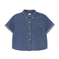 SHORT SLEEVES DENIM SHIRT - Blue
