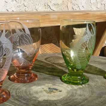 dragon goblets set of two hand engraved glassware barware handmade pink or green glasses