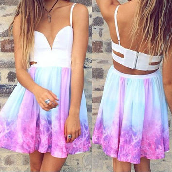 Sexy Deep V Multicolor Gradient Backless Mini Dress