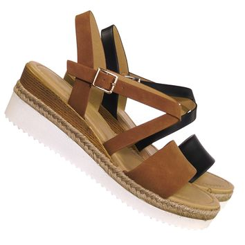 Much Espadrille Wood Wedge Sandal - Womens Open Toe w White Sharktooth Outsole