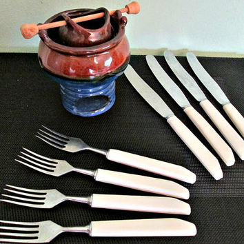 Soviet Vintage Cutlery Flatware Set of 8, USSR Forks and Knives, Russian Kitchen, Soviet Serving Flatware