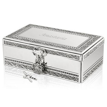 Personalized Silver Jewelry Box with Lock and Key