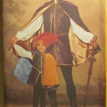 SALE Uncut OOP Butterick Sewing Pattern, 5656! XS-Sml-Medium-Large/Boys/Men's Renaissance Costumes/Prince/Knights/3 Musketeers/King/Reenactm