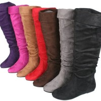 STORY Cookie-1A Women's Flat Bottom Suede Knee High Tall Boots With Plain Calf