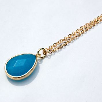 Blue Framed Stone Pendant, gold necklace,  simple jewlery, everyday jewlery, boho, bohemian