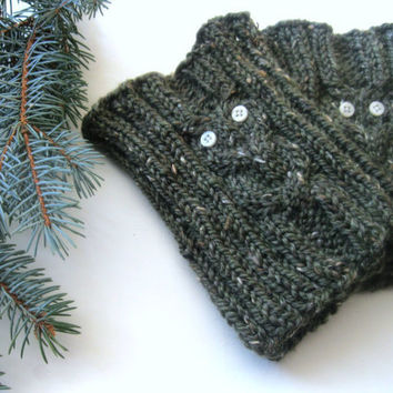 Owl Boot Cuffs : Hand Knit Boot Toppers in the Color of your Choice - Custom Knit