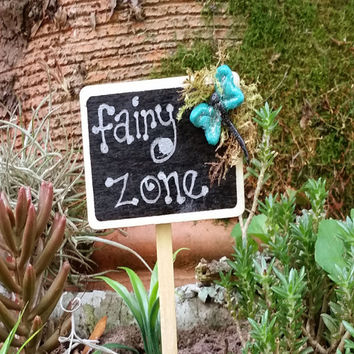 Fairy Garden Sign, Fairy Garden Accessories, Fairy Garden Miniature Sign, Terrarium Accessory, Fairy Sign, Miniature Garden Sign, Dragonfly