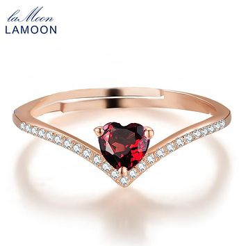 URING- 4mm 0.3ct 100% Natural Heart cut Red Garnet Ring 925 Sterling Silver Jewelry Romantic Wedding Band LMRI003