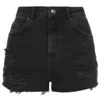 MOTO Black Ripped Mom Shorts - Topshop