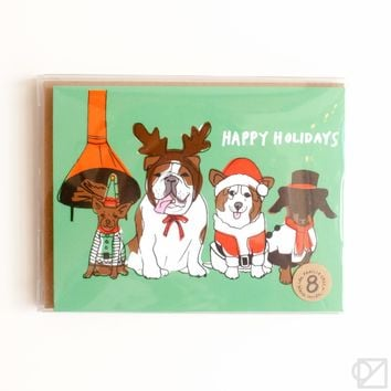 Happy Doggies Holiday 8 Card Box Set