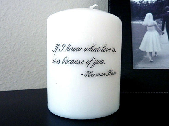 Small Pillar Candle with Love Quote