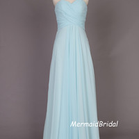Simple light blue Chiffon Long prom dress, evening dress, Party dresses, Long Bridesmaid Dress With Sweetheart Neckline