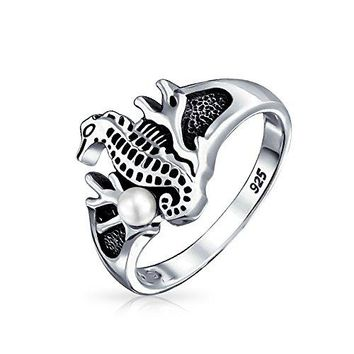Seahorse Coral Simulated Pearl Ring Antiqued 925 Sterling Silver