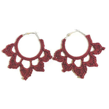 Crochet earrings hoop - Personalised with your colour - Handmade - 100% Cotton