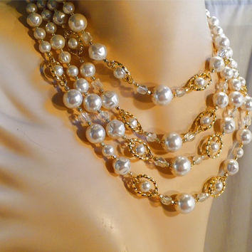 Chunky 4 Strand Crystal & Pearl Necklace, JAPAN Multi-Strand, Large Gold Ovals