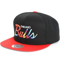 NBA Mitchell and Ness Bulls Tie Dye Script Snapback Hat