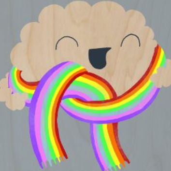 'Mr. Cloud's New Scarf' Funny Cloud w/ Face Wearing Rainbow Scarf - Plywood Wood Print Poster Wall Art