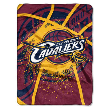 Cleveland Cavaliers NBA Royal Plush Raschel Blanket (Shadow Series) (60x80)