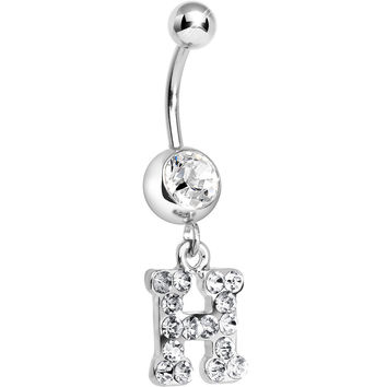 Clear Gem Letter H Initial Dangle Belly Ring