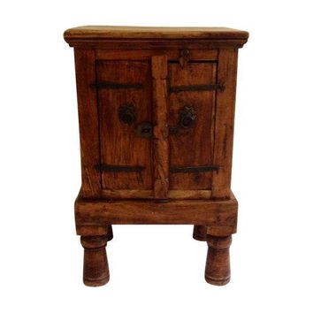 Pre-owned Antique Indian Teak Wood Storage Table