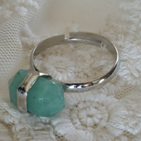 1- Jade Gemstone Ring Silver Adjustable Jade Green Gem Stone Bullet Point Ring All Sizes Finished Gemstone Ring