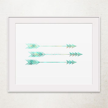 Printable Art, Arrow Print, Feather Arrow Art Print, Tribal Arrow Decor, Three Arrows, Turquoise Art Print, Arrow Home Decor, Arrow Wall Art