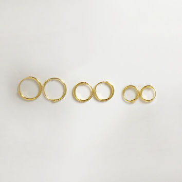 Tiny Gold Hoop Earrings, Tiny Hoop Earrings, Gold Hoop Earrings, Cartilage hoop, helix earrings, cartilage hoop, simple hoop earrings