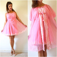 Vintage 60s 70s Flamingo Pink Nylon Nightgown and Peignoir Set