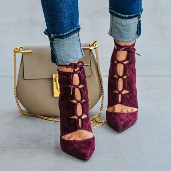 Burgundy Suede Leather Pointy Toe Lace Up Ankle Cut Out High Heel Ankle Bandage Boots