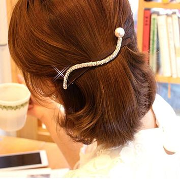 Long Spring Clips S Shape Barrettes Womens Hair Accessories Bling Crystals Hairpins with a Eye Catching Pearl Size 12cm FZ12